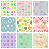 Set of seamless vector geometrical patterns with different geometric figures, forms. pastel endless background with hand drawn tex. Tured geometric figures Stock Image