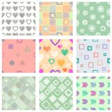 Set of seamless vector geometrical patterns with different geometric figures, forms. pastel endless background with hand drawn tex Royalty Free Stock Photography