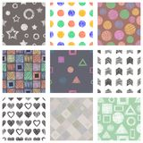 Set of seamless vector geometrical patterns with different geometric figures, forms. pastel endless background with hand drawn tex. Tured geometric figures Stock Photo