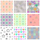Set of seamless vector geometrical patterns with different geometric figures, forms. pastel endless background with hand drawn tex Stock Photography