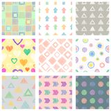 Set of seamless vector geometrical patterns with different geometric figures, forms. pastel endless background with hand drawn tex Stock Photo