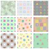 Set of seamless vector geometrical patterns with different geometric figures, forms. pastel endless background with hand drawn tex. Tured geometric figures Stock Images