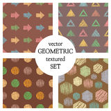 Set of seamless vector geometrical patterns with different geometric figures, forms. pastel endless background with hand drawn tex Stock Images
