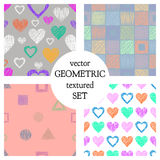 Set of seamless vector geometrical patterns with different geometric figures, forms. pastel endless background with hand drawn tex. Tured geometric figures Royalty Free Stock Photography