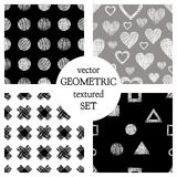 Set of seamless vector geometrical patterns with different geometric figures, forms. pastel endless background with hand drawn tex. Tured geometric figures Royalty Free Stock Photo