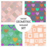 Set of seamless vector geometrical patterns with different geometric figures, forms. pastel endless background with hand drawn tex. Tured geometric figures Royalty Free Stock Images
