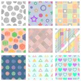 Set of seamless vector geometrical patterns with different geometric figures, forms. pastel endless background with hand drawn tex. Tured geometric figures Stock Photos