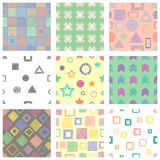 Set of seamless vector geometrical patterns with different geometric figures, forms. pastel endless background with hand drawn tex. Tured geometric figures Royalty Free Stock Image
