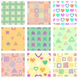 Set of seamless vector geometrical patterns with different geometric figures, forms. pastel endless background with hand drawn tex Royalty Free Stock Image