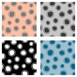 Set of seamless vector geometrical patterns. Endless background with hand drawn circles. Graphic illustration. Print for cover, fabric, wrapping, background Royalty Free Stock Image