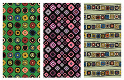 Set of seamless vector geometrical patterns. Endless background. With hand drawn ornamental squares, circles. Graphic vector illustration with ethnic tribal Stock Images