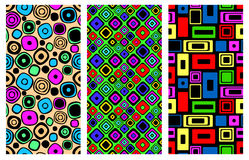 Set of seamless vector geometrical patterns. Endless background with hand drawn ornamental squares, circles. Graphic vector illustration with ethnic tribal Royalty Free Stock Photo