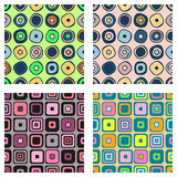 Set of seamless vector geometrical patterns. Endless background with hand drawn ornamental squares, circles. Graphic vector illust. Ration with ethnic tribal Stock Photos