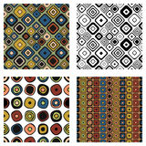 Set of seamless vector geometrical patterns. Endless background with hand drawn ornamental squares, circles. Graphic vector illust. Ration with ethnic tribal Royalty Free Stock Image