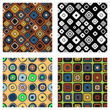 Set of seamless vector geometrical patterns. Endless background with hand drawn ornamental squares, circles. Graphic vector illust. Ration with ethnic tribal Royalty Free Stock Images