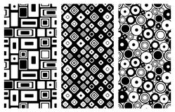 Set of seamless vector geometrical patterns. Endless background with hand drawn ornamental squares, circles. Graphic vector illust Royalty Free Stock Image