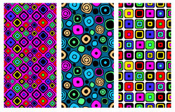 Set of seamless vector geometrical patterns. Endless background with hand drawn ornamental squares, circles. Graphic vector illust. Ration with ethnic tribal Stock Photo