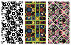 Set of seamless vector geometrical patterns. Endless background with hand drawn ornamental squares, circles. Graphic vector illust Royalty Free Stock Photography