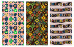Set of seamless vector geometrical patterns. Endless background with hand drawn ornamental squares, circles. Graphic vector illust. Ration with ethnic tribal Stock Photography