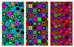 Set of seamless vector geometrical patterns. Endless background with hand drawn ornamental squares, circles. Graphic vector illust Royalty Free Stock Photo