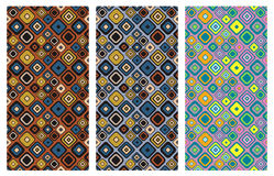 Set of seamless vector geometrical patterns. Endless background with hand drawn ornamental squares, circles. Graphic vector illust. Ration with ethnic tribal Stock Image