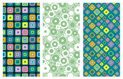 Set of seamless vector geometrical patterns. Endless background with hand drawn ornamental squares, circles. Graphic vector illust. Ration with ethnic tribal Royalty Free Stock Photos