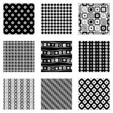 Set of seamless vector geometrical patterns. Endless background with hand drawn ornamental tribal elements. Black and white graphi Royalty Free Stock Images
