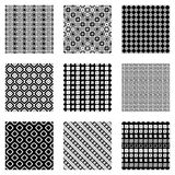 Set of seamless vector geometrical patterns. Endless background with hand drawn ornamental tribal elements. Black and white graphi Stock Photos