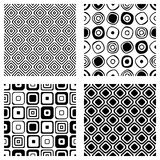 Set of seamless vector geometrical patterns. Endless background with hand drawn ornamental tribal elements. Black and white graphi Royalty Free Stock Photos