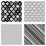 Set of seamless vector geometrical patterns. Endless background with hand drawn ornamental tribal elements. Black and white graphi. C vector illustration with Stock Photos