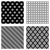 Set of seamless vector geometrical patterns. Endless background with hand drawn ornamental tribal elements. Black and white graphi Stock Image
