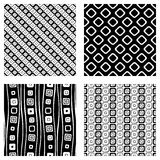 Set of seamless vector geometrical patterns. Endless background with hand drawn ornamental tribal elements. Black and white graphi Royalty Free Stock Photography