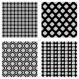 Set of seamless vector geometrical patterns. Endless background with hand drawn ornamental tribal elements. Black and white graphi Stock Photo