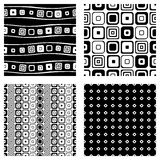 Set of seamless vector geometrical patterns. Endless background with hand drawn ornamental tribal elements. Black and white graphi Stock Photography