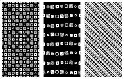 Set of seamless vector geometrical patterns. Endless background with hand drawn ornamental tribal elements. Black and white graphi Royalty Free Stock Photo