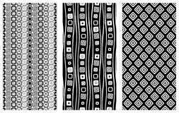 Set of seamless vector geometrical patterns. Endless background with hand drawn ornamental tribal elements. Black and white graphi Royalty Free Stock Image