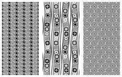 Set of seamless vector geometrical patterns. Endless background with hand drawn ornamental tribal elements. Black and white graphi. C vector illustration with Royalty Free Stock Image