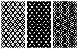 Set of seamless vector geometrical patterns. Endless background with hand drawn ornamental tribal elements. Black and white graphi Stock Images
