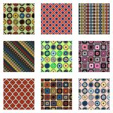 Set of seamless vector geometrical patterns. Endless background with hand drawn ornamental tribal elements. Graphic vector illustr Stock Photography