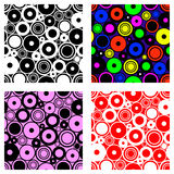 Set of seamless vector geometrical patterns. Endless backgrounds with circles. Graphic illustration. Template for cover, fabric, w. Rapping, print, background Stock Image