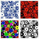 Set of seamless vector geometrical patterns. Endless backgrounds with circles. Graphic illustration. Template for cover, fabric, w. Rapping, print, background Stock Images
