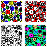 Set of seamless vector geometrical patterns. Endless colorful and black, white backgrounds with hand drawn circles. Graphic illust Stock Images