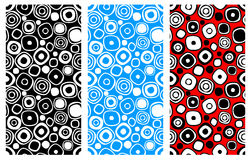 Set of seamless vector geometrical patterns. Endless colorful and black, white backgrounds with hand drawn circles. Graphic illust Royalty Free Stock Images