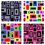 Set of seamless vector geometrical patterns. Endless colorful and black, white backgrounds with squares and rectangles. Graphic il. Lustration. Template for Royalty Free Stock Image