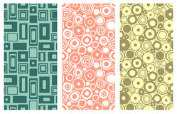 Set of seamless vector geometrical patterns. Endless colorful pastel backgrounds with squares, circles and rectangles. Graphic ill. Ustration. Template for cover Stock Images