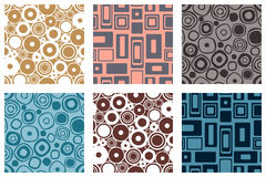 Set of seamless vector geometrical patterns. Endless colorful pastel backgrounds with squares, circles and rectangles. Graphic ill. Ustration. Template for cover Royalty Free Stock Photos