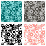 Set of seamless vector geometrical patterns. Endless print, backgrounds with circles. Graphic illustration. Template for cover, fa. Set of seamless vector Royalty Free Stock Image