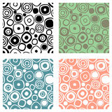 Set of seamless vector geometrical patterns. Endless print, backgrounds with hand drawn circles. Graphic illustration. Template fo Stock Images
