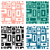 Set of seamless vector geometrical patterns. Endlessprint, backgrounds with squares and rectangles. Graphic illustration. Template. For cover, fabric, wrapping Royalty Free Stock Photo
