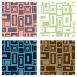 Set of seamless vector geometrical patterns. Endlessprint, backgrounds with squares and rectangles. Graphic illustration. Template. For cover, fabric, wrapping Stock Photography